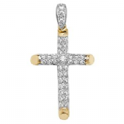 9ct Gold Pave cubic Zirconia Cross Pendant 3.1g